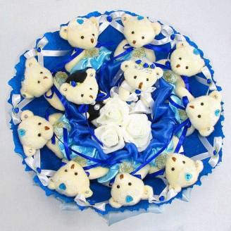 Букет из игрушек Мишки 11 синий свадебный