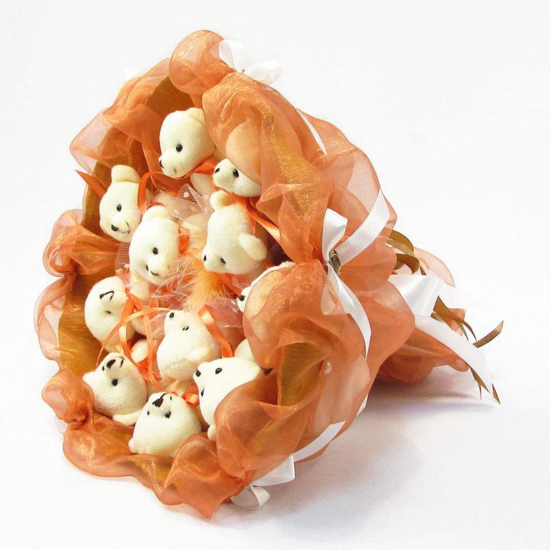 Букет из игрушек Мишки 11 терракотовый