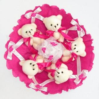 Букет из игрушек Мишки 5 малиновый
