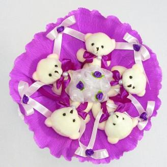 Букет из игрушек Мишки 5 сиреневый
