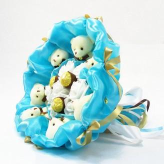 Букет з іграшок Ведмедики 7 з Ферреро роше бірюзовий