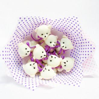 Букет з іграшок Ведмедики 9 рожево-фіолетовий крафт