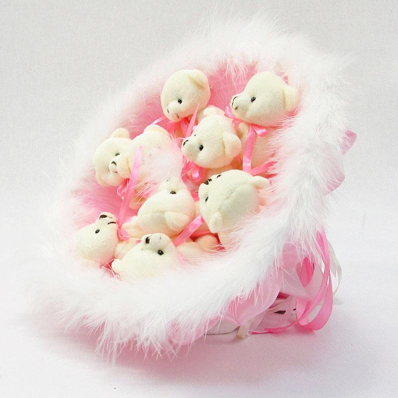 Букет из игрушек Мишки 9 розовый с пушком
