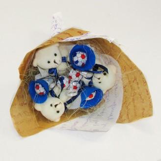 Букет из игрушек Мишки с чупа-чупс синий Крафт