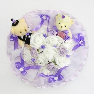 Букет из игрушек Мишки свадебный сиреневый