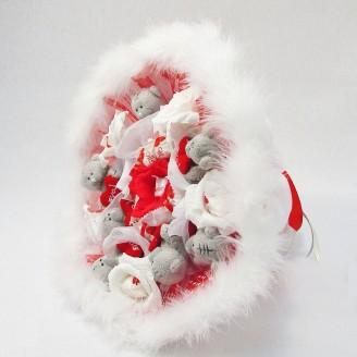Букет из игрушек Мишки тедди 7 с рафаэлло