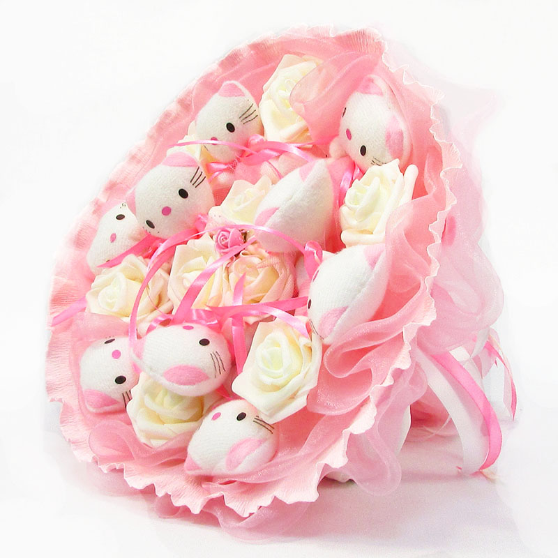 Букет з іграшок Котики 9 ніжно-рожевий