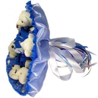 Букет из игрушек Мишки белые 6 с конфетами Ферреро Роше