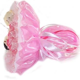 Букет из игрушек Мишки Парочка белые в розовом