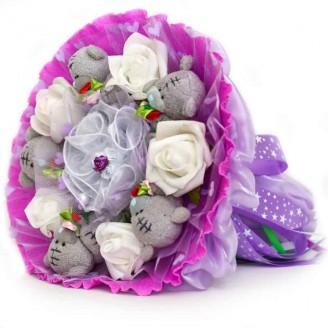 Букет из игрушек Мишки Тэдди 5 в фиолетовом с розами