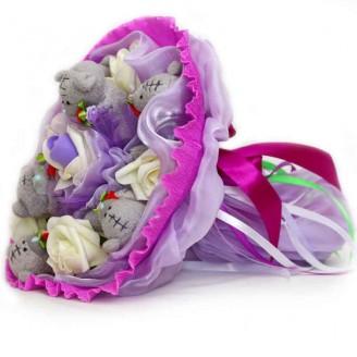 Букет из игрушек Мишки Тэдди 7 фиолетовый