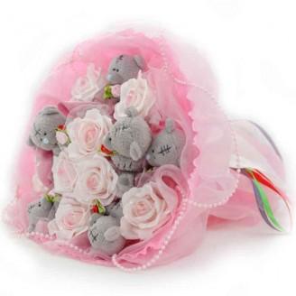 Букет из игрушек Мишки Тэдди 7 розовый