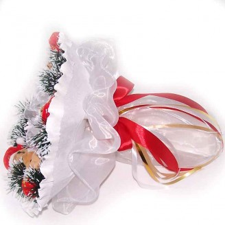 Букет из игрушек Новогодний Мишки 5 белый
