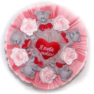 Букет из мягких игрушек Мишки Тэдди 5 красный