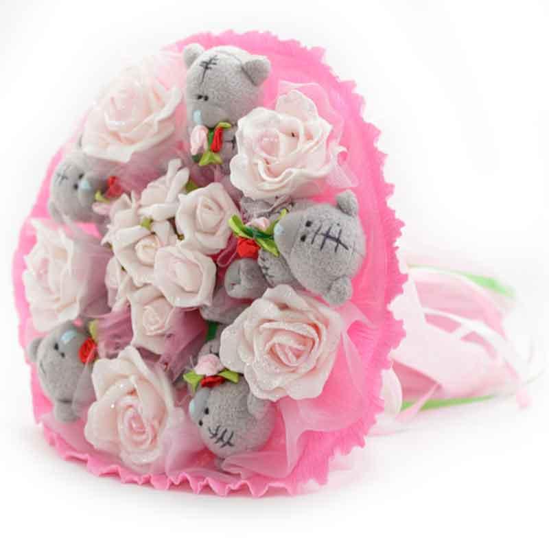Букет из мягких игрушек Мишки Тэдди 5 розовый