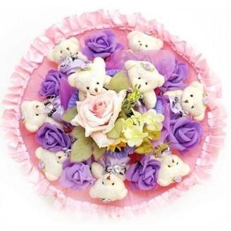 Букет из игрушек Мишки 9 с розами фиолет