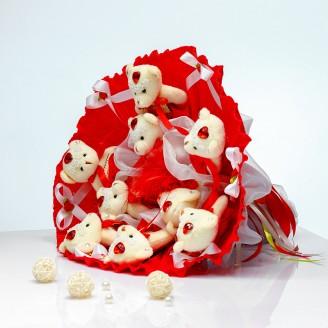 Букет из игрушек Мишки 9 в красном с бантами