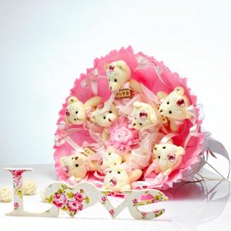 Букет из игрушек Мишки 9 в розовом с бантами