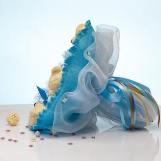 Букет из игрушек Мишки с конфетами Ферреро 5 в голубом