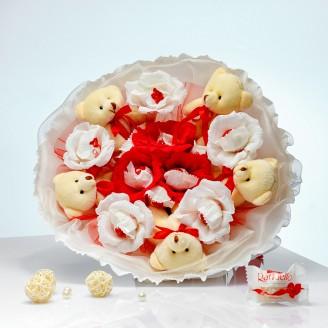 Букет з іграшек Ведмедики з цукерками Раффаелло 5 червоно-білий