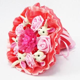 Букет из игрушек Зайки 5 в ярко-розовом