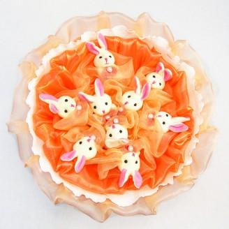 Букет из игрушек Зайки 9 персиковый